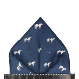 Cows in Navy Blue Pocket Square