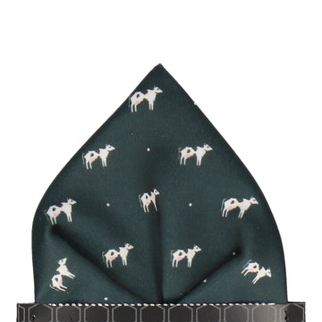 Cows in Dark Green Pocket Square