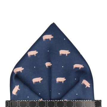 Farm Navy Blue Pigs Pocket Square