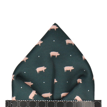 Pigs in Dark Green Pocket Square