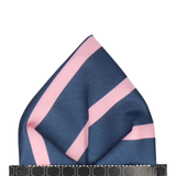 Navy & Pink Stripe Pocket Square