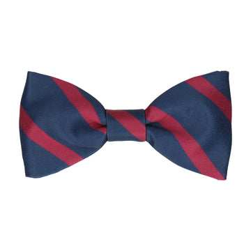 Navy Blue & Mulberry Red Stripe Bow Tie