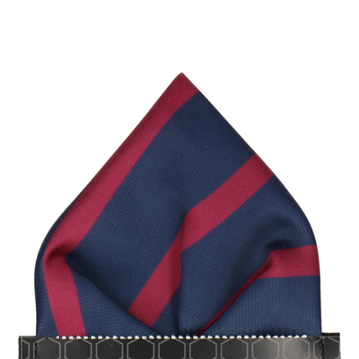 Navy Blue & Mulberry Red Stripe Pocket Square