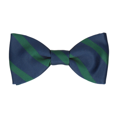 Green & Navy Stripe Bow Tie