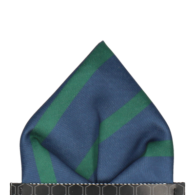 Green & Navy Stripe Pocket Square
