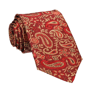 Metallic Red & Gold Woven Paisley Tie