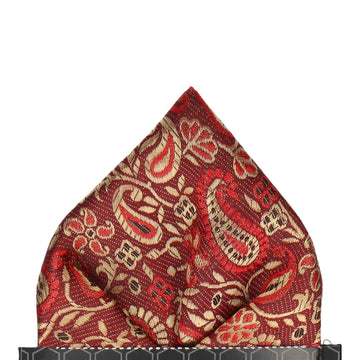 Metallic Red & Gold Woven Paisley Pocket Square
