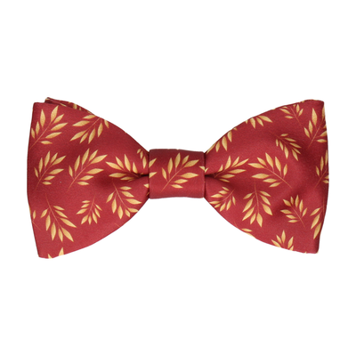 Red Laurel Print Bow Tie