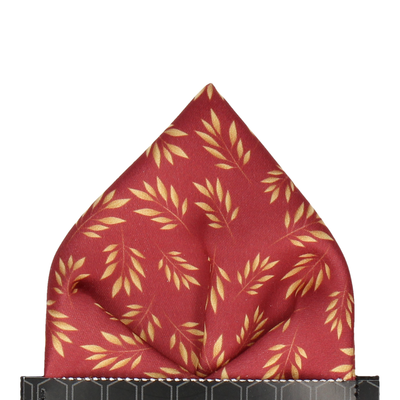 Red Laurel Print Pocket Square