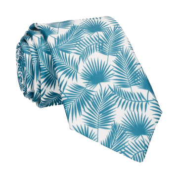 Emerald Teal Palm Leafs Tropical Tie