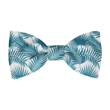 Emerald Teal Palm Leafs Tropical Bow Tie