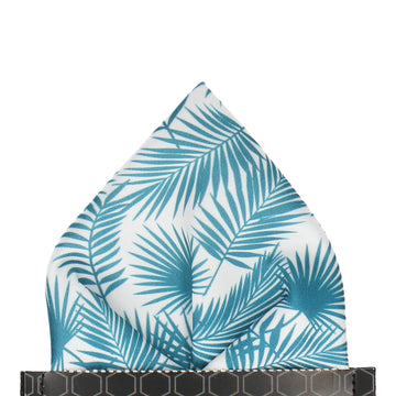 Emerald Teal Palm Leafs Tropical Pocket Square