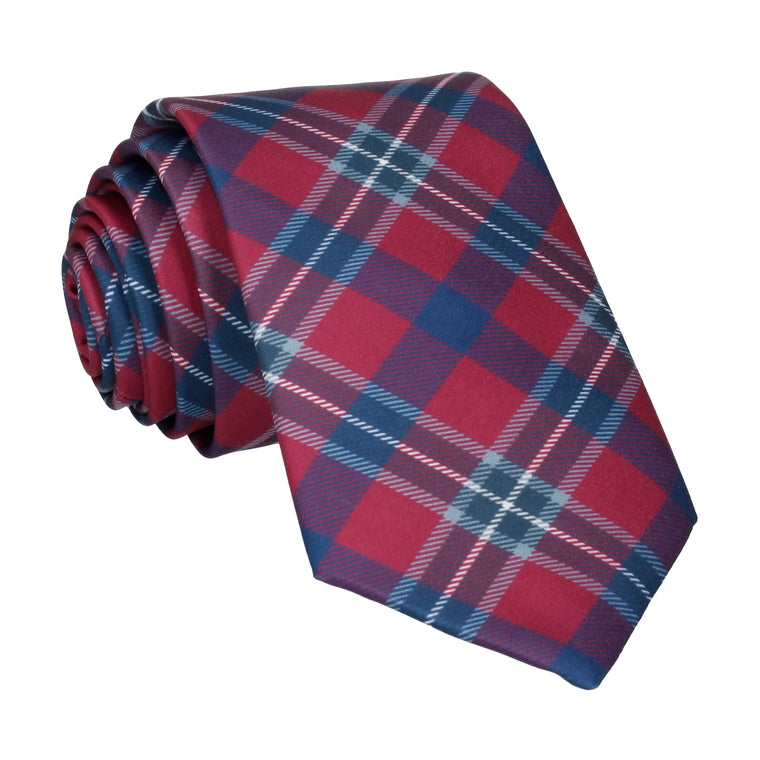 Bordeaux Red Modern Tartan Check Tie