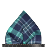 Green Modern Tartan Check Pocket Square