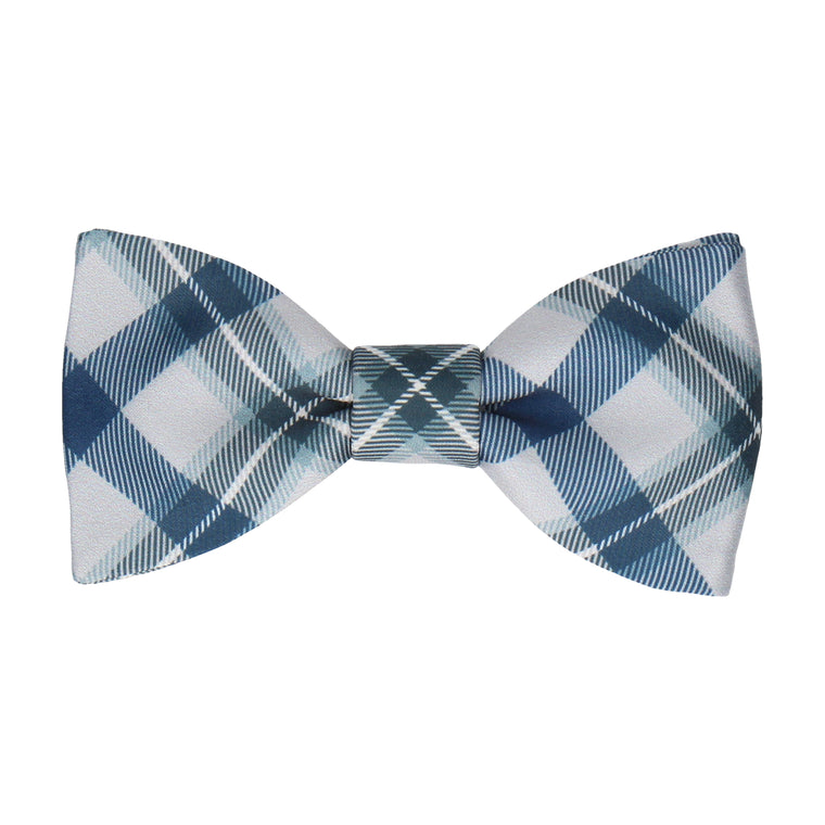 Grey Modern Tartan Check Bow Tie