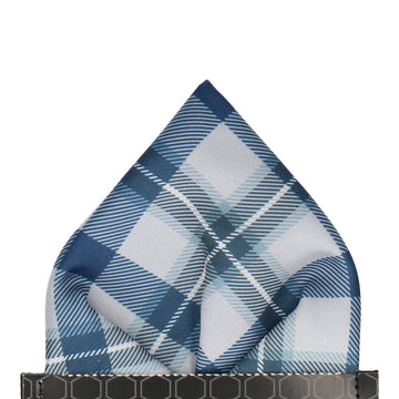 Grey Modern Tartan Check Pocket Square