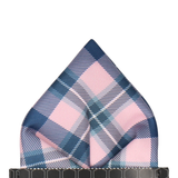 Pink Modern Tartan Check Pocket Square