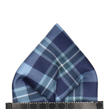 Blue Modern Tartan Check Pocket Square