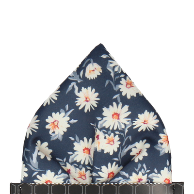 Daisy Print Navy Pocket Square