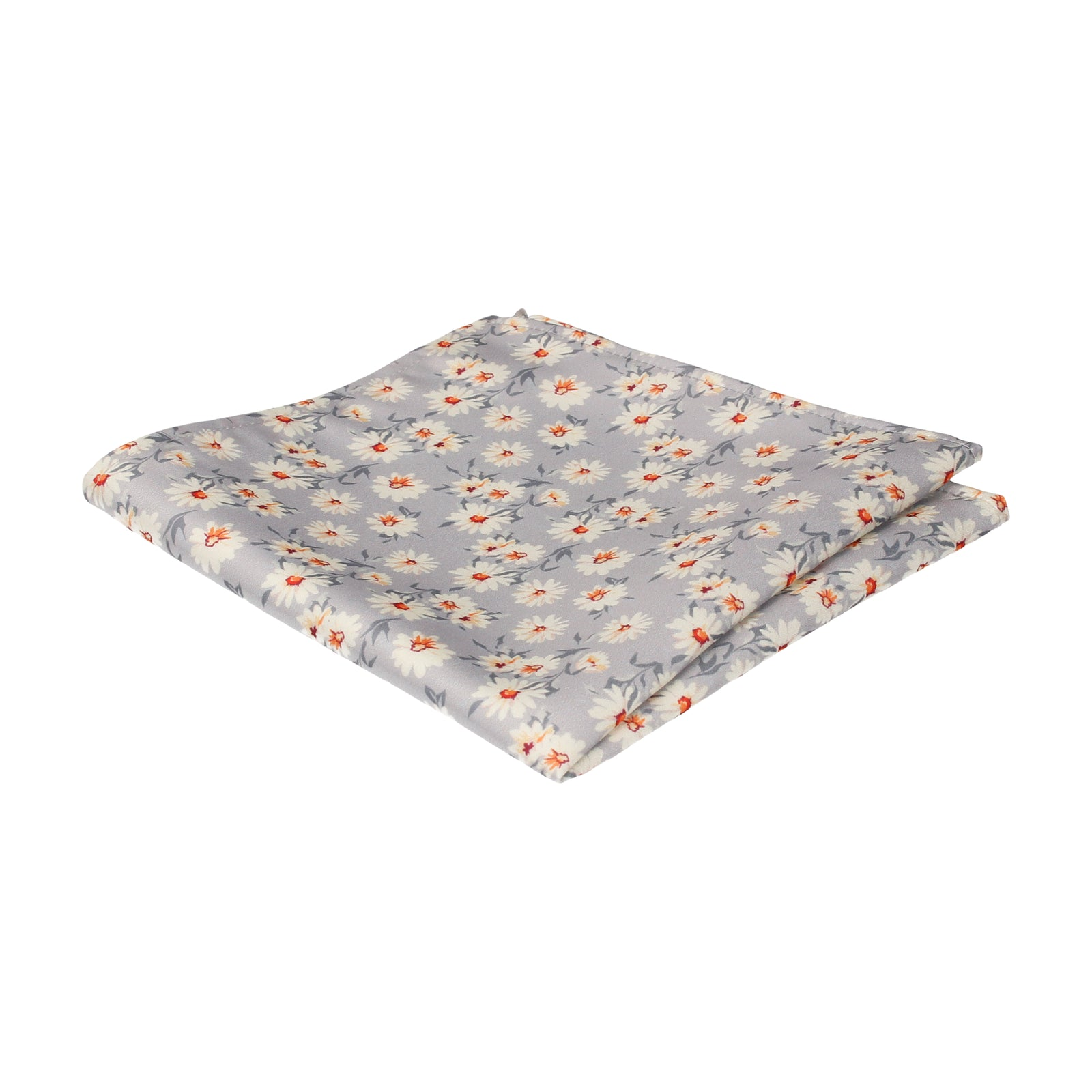 Daisy Print Platinum Grey Pocket Square