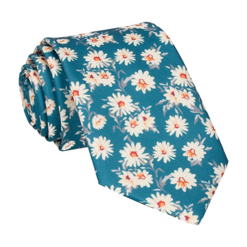 Daisy Print Emerald Sea Teal Tie