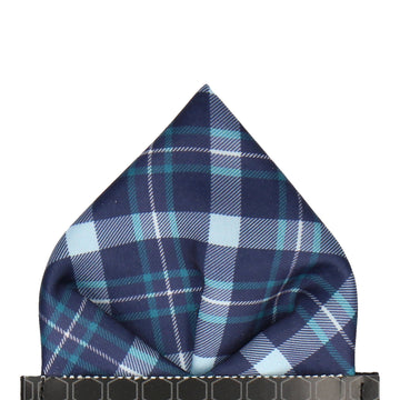 Navy & Turquoise Tartan Plaid Print Pocket Square