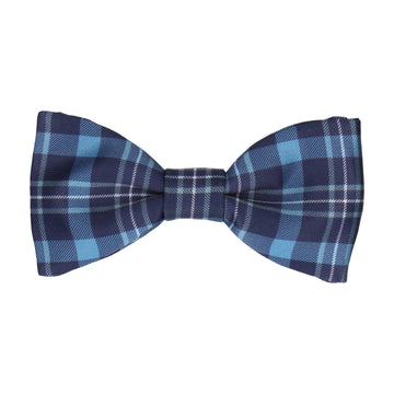Blue Tartan Plaid Print Bow Tie