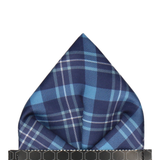 Blue Tartan Plaid Print Pocket Square