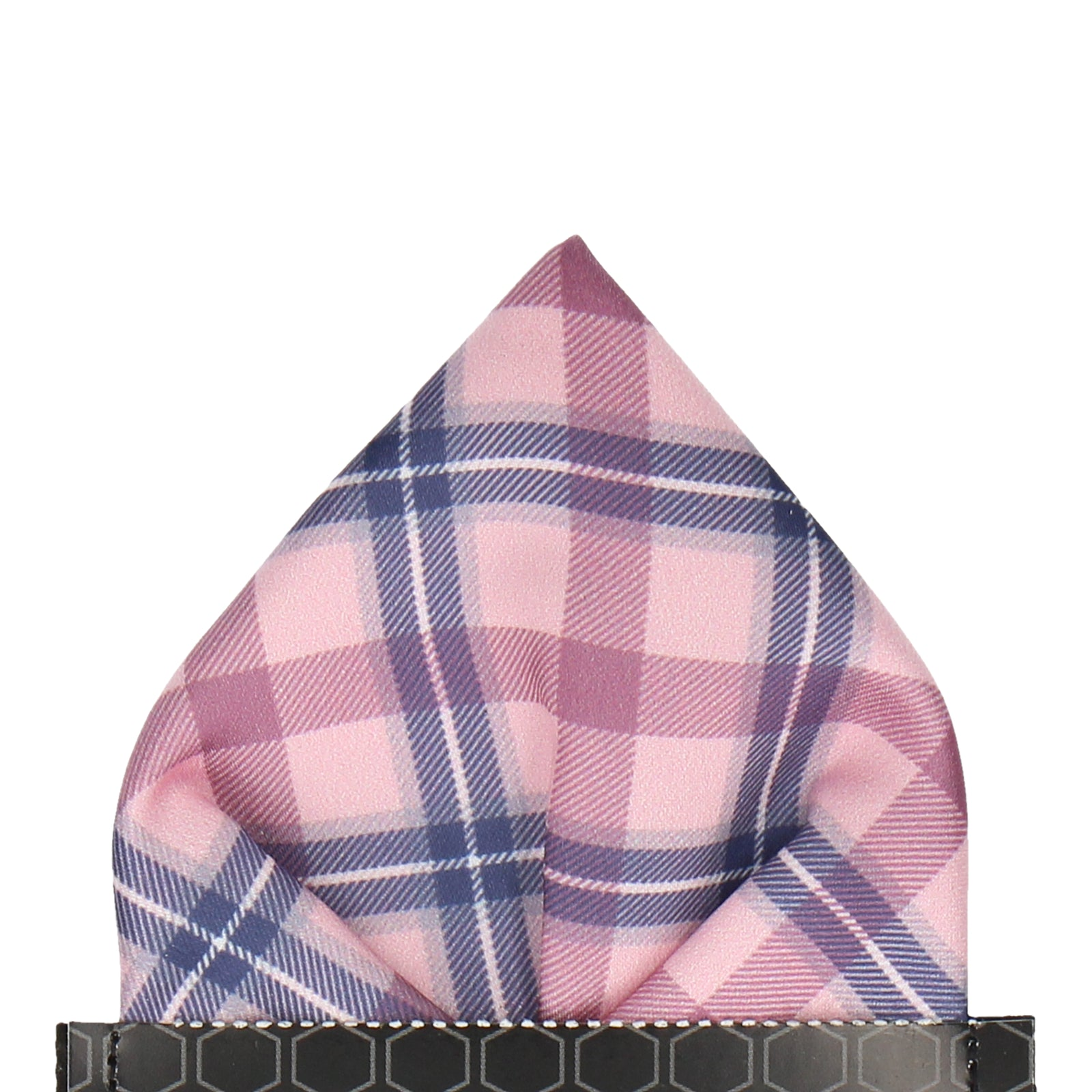 Pink Tartan Plaid Print Pocket Square