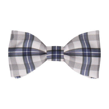 Grey Tartan Plaid Print Bow Tie