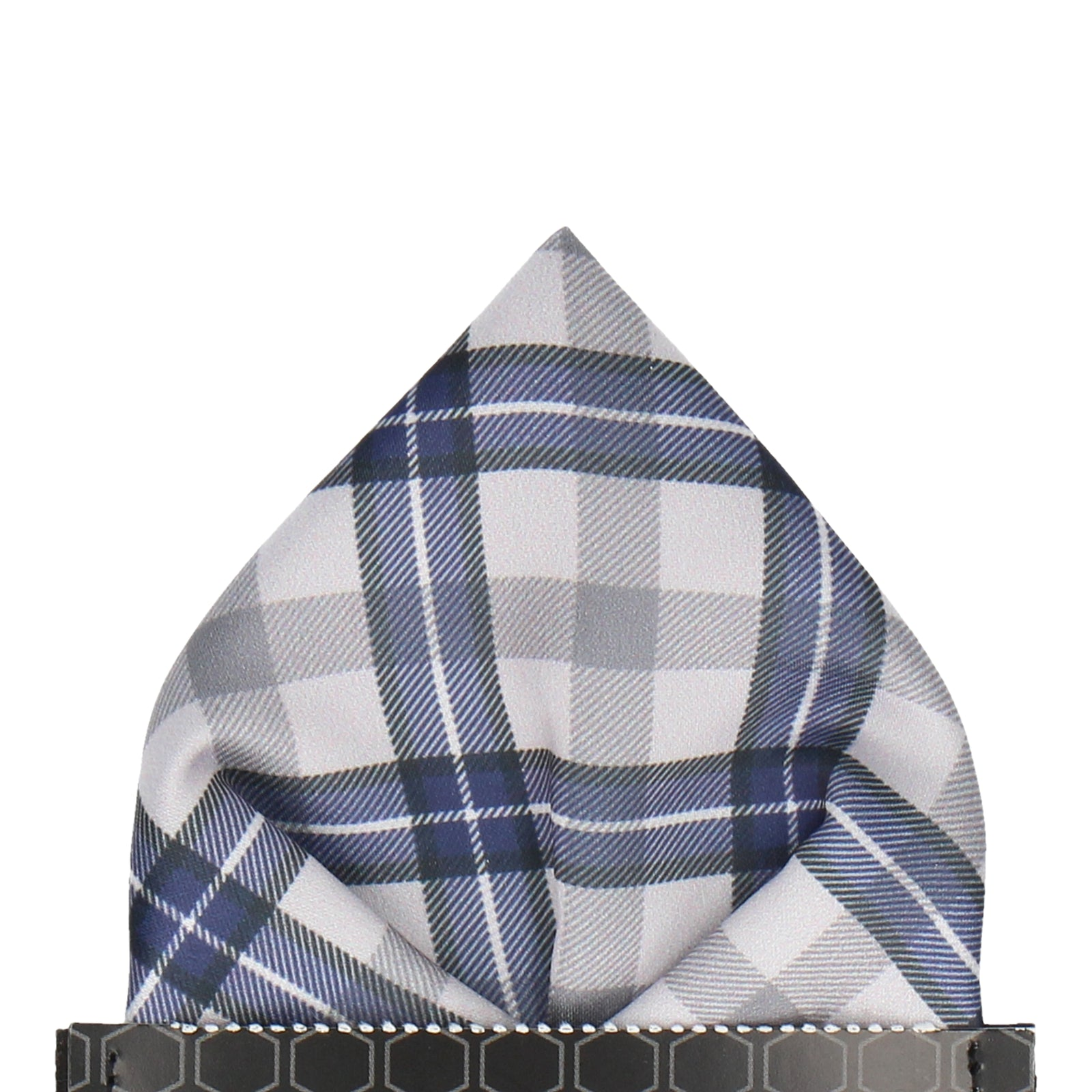 Grey Tartan Plaid Print Pocket Square