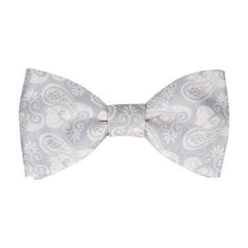 Shelley Platinum Grey & White Paisley Bow Tie