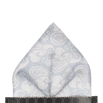Silver Grey Vintage Paisley Pocket Square