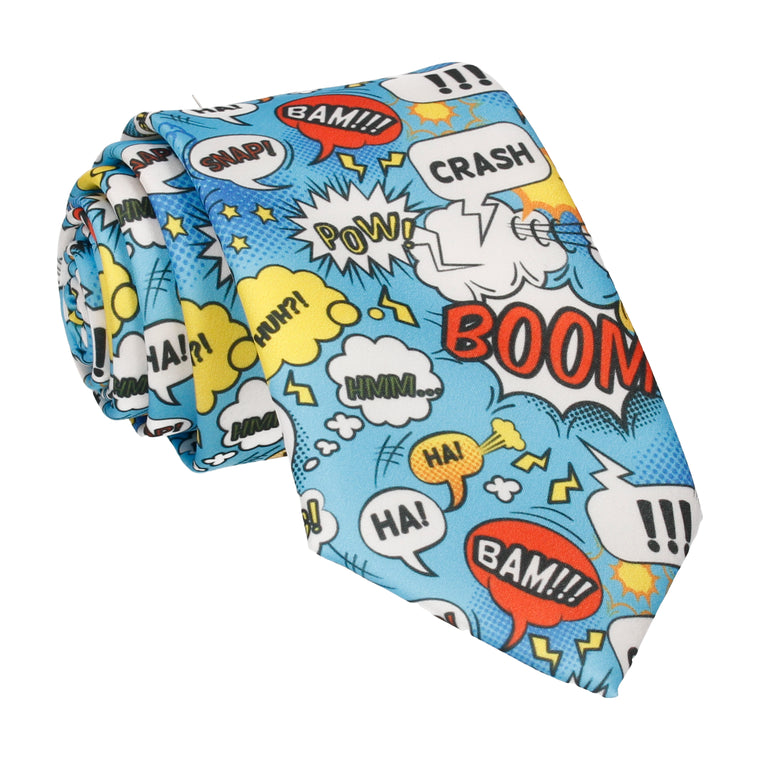 Blue Comic Book Superhero Tie