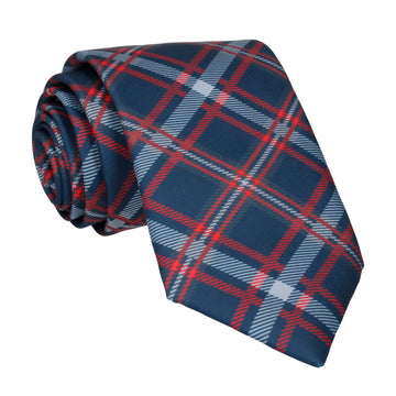 Navy Blue & Red Plaid Tartan Tie