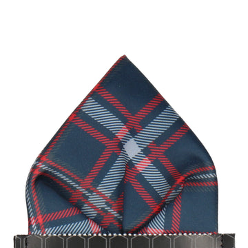 Navy Blue & Red Plaid Tartan Pocket Square