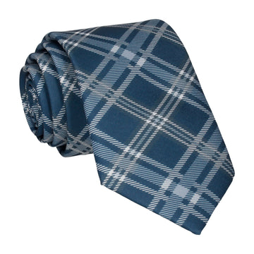 Navy Blue & Grey Plaid Tartan Tie