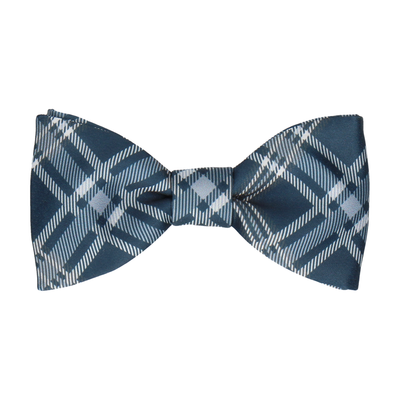 Navy Blue & Grey Plaid Tartan Bow Tie