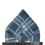 Navy Blue & Grey Plaid Tartan Pocket Square