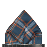 Navy Blue & Orange Plaid Tartan Pocket Square