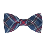 Navy Blue & Mulberry Plaid Tartan Bow Tie