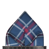 Navy Blue & Mulberry Plaid Tartan Pocket Square