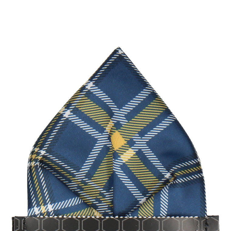 Navy Blue & Yellow Plaid Tartan Pocket Square