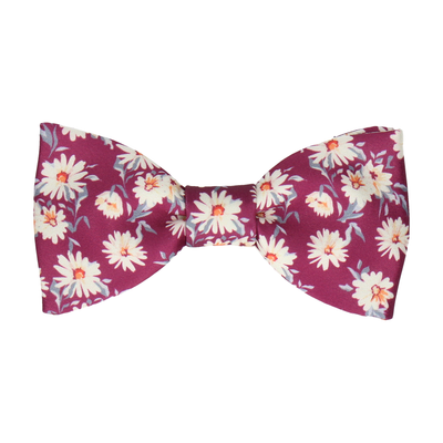 Daisy Print Mulberry Pink Bow Tie
