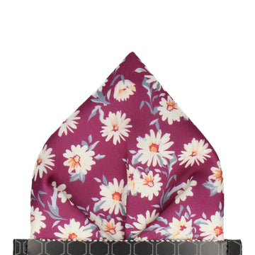 Daisy Print Mulberry Pink Pocket Square