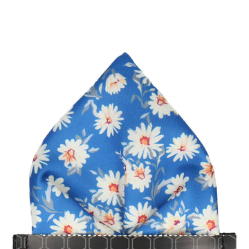 Daisy Print Royal Blue Pocket Square