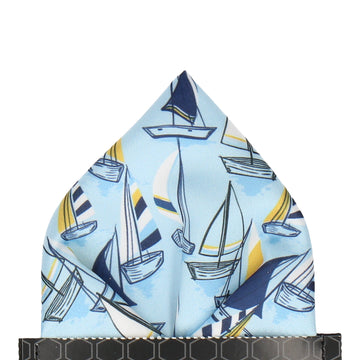 Blue Sailing Boats Nautical Pocket Square