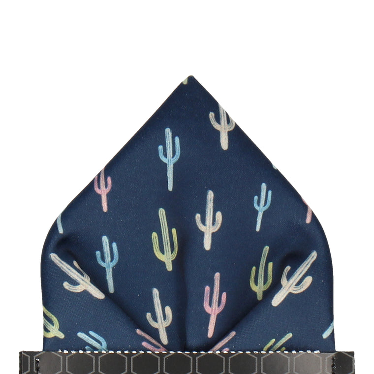 Navy Blue Cactus Print Pocket Square