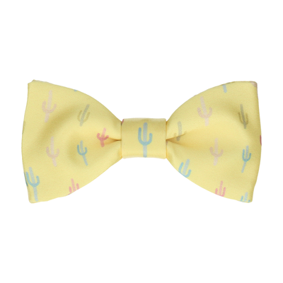 Lemon Yellow Cactus Print Bow Tie