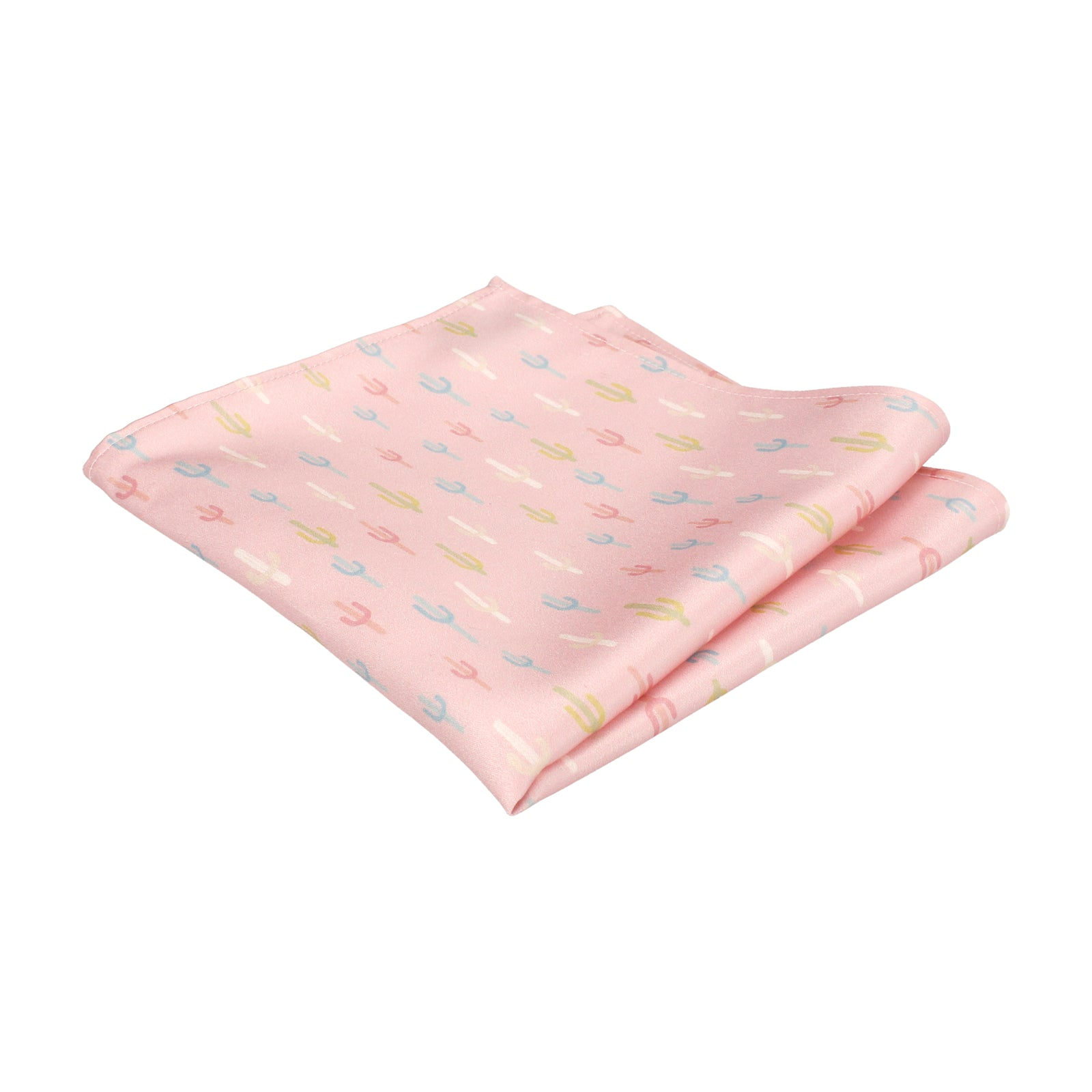 Pale Pink Cactus Print Pocket Square